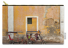 Carry-all Pouch featuring the photograph Pedicabs At Convento De Santa Clara Havana Cuba by Charles Harden