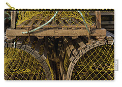 Carry-all Pouch featuring the photograph Pei Loberster Traps With Yellow Netting by Chris Bordeleau