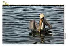 Carry-all Pouch featuring the photograph Pelican Wing In A  Twist by Jean Noren