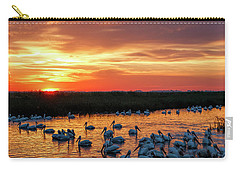 Pelicans At Sunrise Carry-all Pouch by Rob Graham