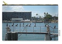 Pelicans In A Row Carry-all Pouch by Val Oconnor