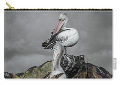 Pelicans On Rocks Carry-all Pouch by Racheal Christian