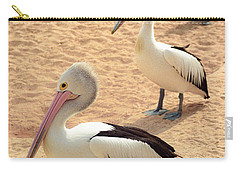 Carry-all Pouch featuring the photograph Pelicans Seriously Chillin' by T Brian Jones
