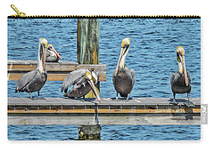 Carry-all Pouch featuring the photograph Pelicans Waiting For Their Ship To Come In by Bob Slitzan