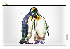 Penguin Couple Carry-all Pouch by Marian Voicu