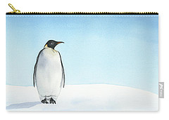 Carry-all Pouch featuring the painting Penguin Watercolor by Taylan Apukovska