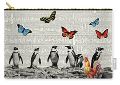 Penguins And Butterflies Carry-all Pouch