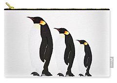 Carry-all Pouch featuring the painting Penguins Family  by Gabriella Weninger - David