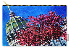 Carry-all Pouch featuring the photograph Pennsylvania State Capitol Dome In Bloom by Shelley Neff