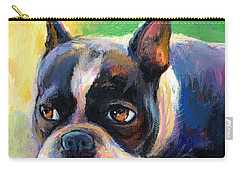 Pensive Boston Terrier Dog Painting Carry-all Pouch by Svetlana Novikova