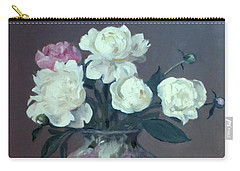 One Pink And Four White Peonies, Lavender Cloth  Carry-all Pouch