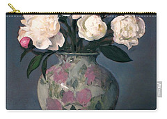 Peonies In Floral Vase With Red Apple Carry-all Pouch