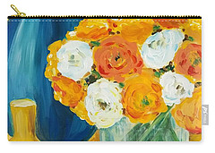 Carry-all Pouch featuring the painting Peonies by Maria Langgle