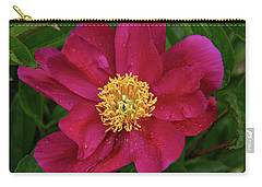 Carry-all Pouch featuring the photograph Peony In Rain by Sandy Keeton