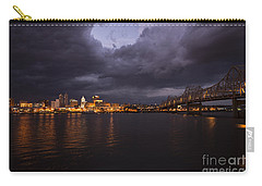 Carry-all Pouch featuring the photograph Peoria Stormy Cityscape by Andrea Silies