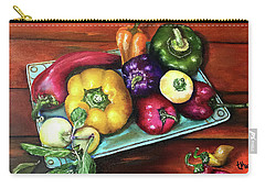Peppers And A Turquoise Tray Carry-all Pouch