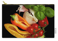 Carry-all Pouch featuring the photograph Peppers Basil Tomatoes Garlic by David French