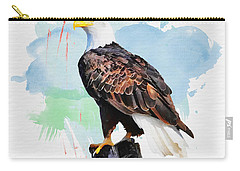 Carry-all Pouch featuring the painting Perched Eagle by Greg Collins