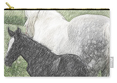Percheron Colt And Mare In Pasture Digital Art Carry-all Pouch