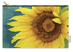 Carry-all Pouch featuring the painting Perfection - Russian Mammoth Sunflower by Audrey Jeanne Roberts