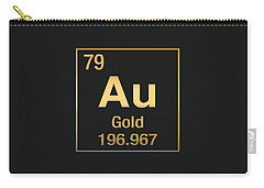 Periodic Table Of Elements - Gold - Au - Gold On Black Carry-all Pouch
