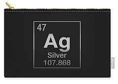 Periodic Table Of Elements - Silver - Ag - Silver On Black Carry-all Pouch