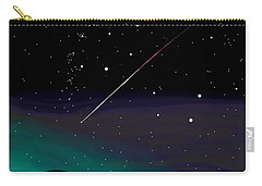 Carry-all Pouch featuring the digital art Perseid Meteor Shower  by Jean Pacheco Ravinski