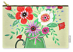 Persimmon And Sage Florals Carry-all Pouch