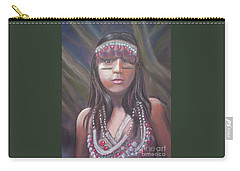 Carry-all Pouch featuring the pastel Peruvian Girl by Julie Brugh Riffey