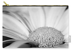 Carry-all Pouch featuring the photograph Petals - Black And White by Angela Rath