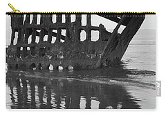 Peter Iredale Shipwreck In Black And White Carry-all Pouch