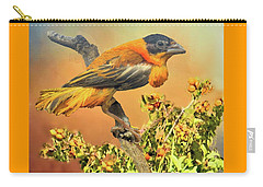 Carry-all Pouch featuring the photograph Petit Oiseau Dans Plaqueminier Or Small Bird In Persimmons  by Janette Boyd