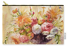 Petite Apples In Floral Carry-all Pouch by Judith Levins