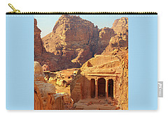 Carry-all Pouch featuring the photograph Petra Buildings, Pond And Gardens Complex by Nicola Nobile