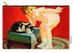 Carry-all Pouch featuring the painting Petting The Cat George Leslie Rapp 1920 by Peter Gumaer Ogden