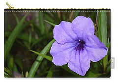 Petunia And Raindrops Carry-all Pouch by Warren Thompson