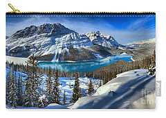 Peyto Lake Winter Panorama Carry-all Pouch by Adam Jewell