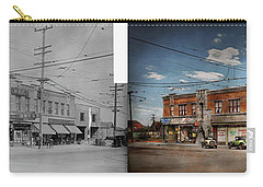Carry-all Pouch featuring the photograph Pharmacy - The Corner Drugstore 1910 - Side By Side by Mike Savad