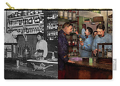Carry-all Pouch featuring the photograph Pharmacy - The Dispensing Chemist 1918 - Side By Side by Mike Savad