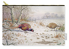 Pheasant And Partridge Eating  Carry-all Pouch by Carl Donner