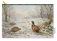 Pheasant And Partridges In A Snowy Landscape Carry-all Pouch by Carl Donner