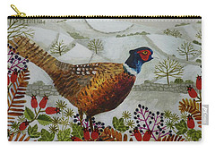 Pheasant And Snowy Hillside Carry-all Pouch