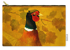 Pheasant In Yellow Carry-all Pouch