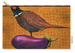Pheasant On An Eggplant Carry-all Pouch