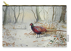 Pheasants In Snow Carry-all Pouch by Carl Donner