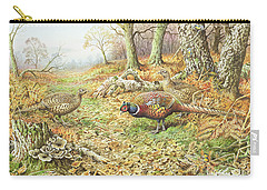 Pheasants With Blue Tits Carry-all Pouch by Carl Donner