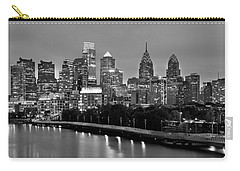Philadelphia Philly Skyline At Dusk From Near South Bw Black And White Panorama Carry-all Pouch