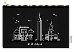 Philadelphia Skyline Travel Poster Carry-all Pouch