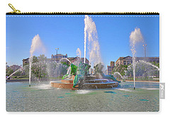 Carry-all Pouch featuring the photograph Philadelphia - Swann Fountain At Logan Square by Bill Cannon