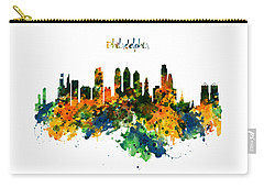 Philadelphia Watercolor Skyline Carry-all Pouch by Marian Voicu